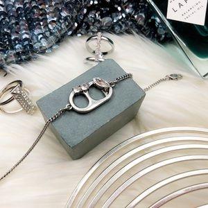 Marc Jacobs Silver Jeweled Soda Tab Bracelet